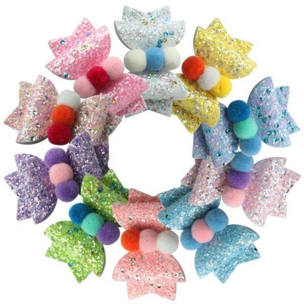 Laço glitter e pompom (1)
